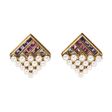 Bulgari Gemset and Pearl Ear Clips
