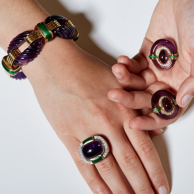 David Webb Amethyst and Diamond Green Enamel Bracelet, Earrings, Ring Suite