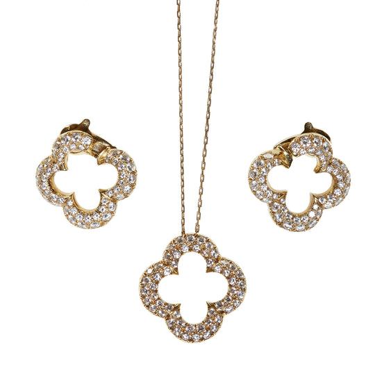 Van Cleef & Arpels Gold and Diamond Alhambra Pendant Necklace and Ear Clips