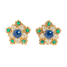 David Webb Sapphire, Emerald, Diamond and Gold Ear Clips