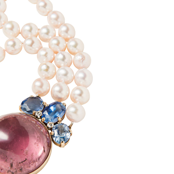 Seaman Schepps Pink Tourmaline, Sapphire, Cultured Pearl and Diamond Necklace