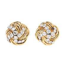 Bulgari Yellow Gold and Diamond Swirl Ear Clips