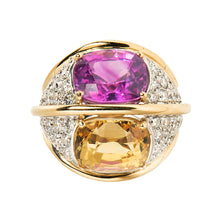 Verdura 18k Yellow Gold and Diamond Dome Ring with Pink and Yellow Sapphires