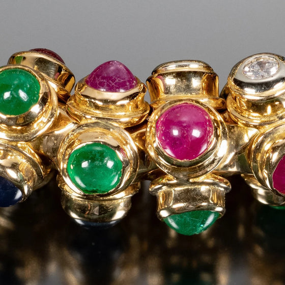 Moussaieff 18k Gold, Diamond, Ruby, Sapphire and Emerald Bracelet