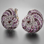 Alex Soldier Handmade Rose-Colored Snail Earrings - Tiina Smith Jewelry