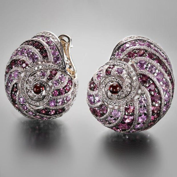 Alex Soldier Handmade Rose-Colored Snail Earrings
