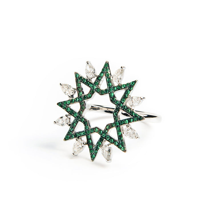 Ralph Masri Arabesque Deco Diamond & Emerald Ring