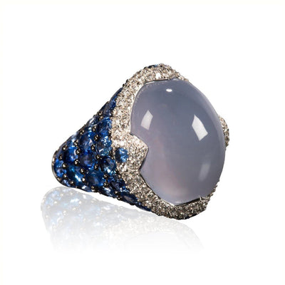 Asprey Blue Cabochon Chalcedony Diamond and Sapphire Ring
