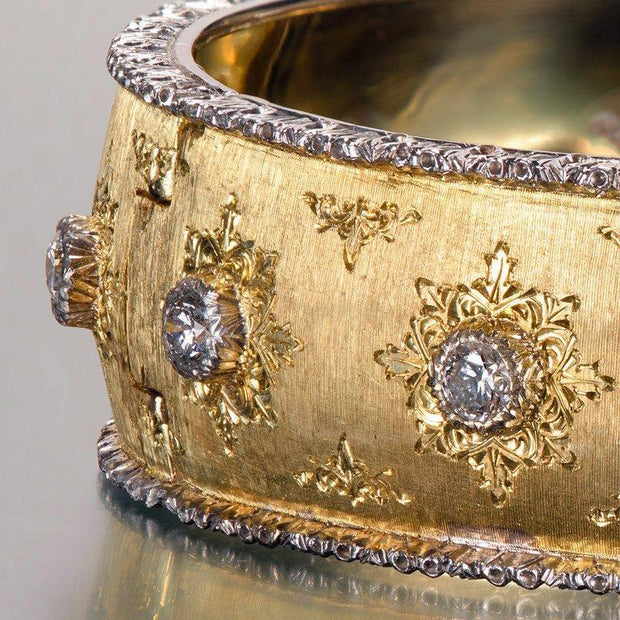 Buccellati Yellow Hinged Gold Bracelet with Diamonds - Tiina Smith Jewelry