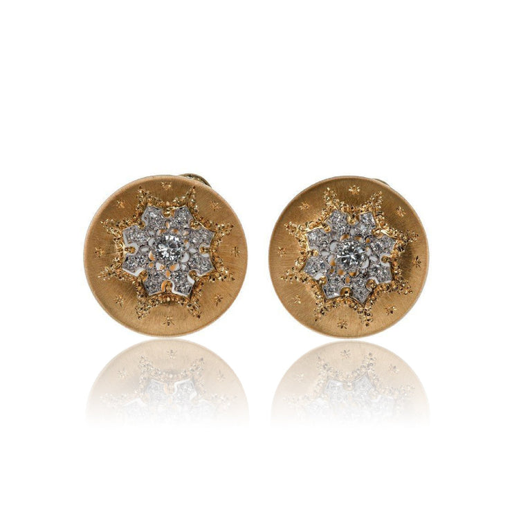 Buccellati Diamond and Yellow Gold Button Earrings