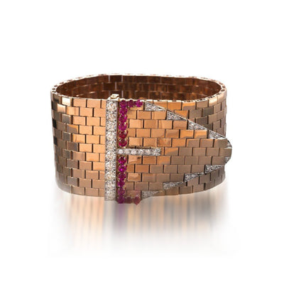 Bulgari Retro Ruby and Diamond Rose Gold Cuff