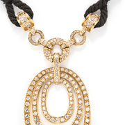 Bulgari 18K Yellow Gold and Diamond Pendant on Cord