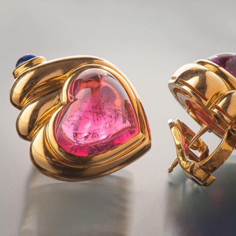 Bulgari Cabochon Tourmaline and Sapphire Heart Earrings