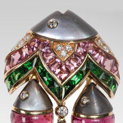 "Bulgari ""Mamma Pesce"" Gem Set and Diamond Ear Clips - Tiina Smith Jewelry"
