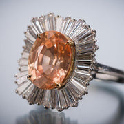 AGL Certified 7.70 Carat Natural Orange Oval Sapphire Diamond Ballerina Ring - Tiina Smith Jewelry