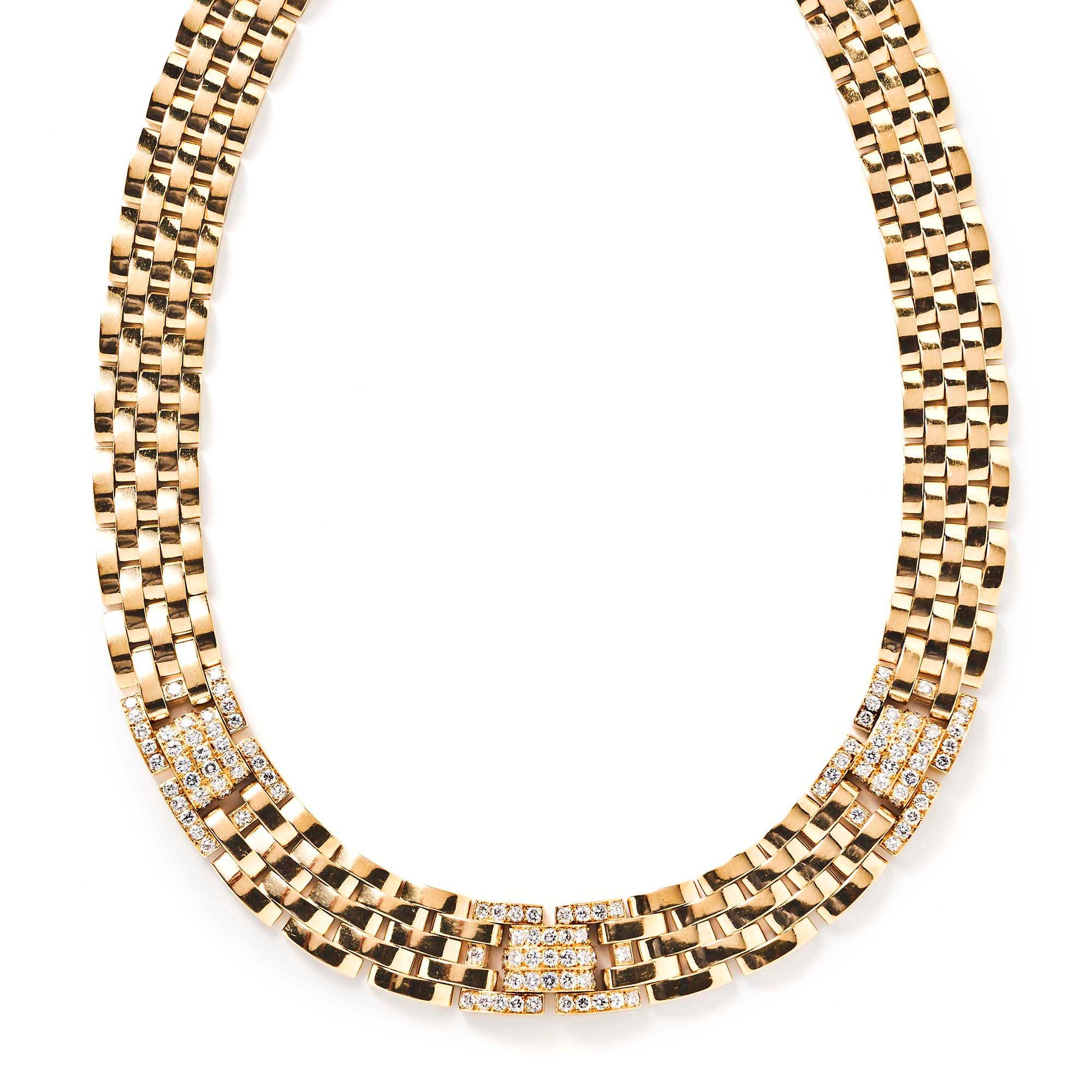 Cartier Maillon Panthère 18k Yellow Gold and Diamond 5 Row Necklace