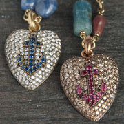 Champagne Diamond Heart Pendant with Ruby Anchor - Tiina Smith Jewelry