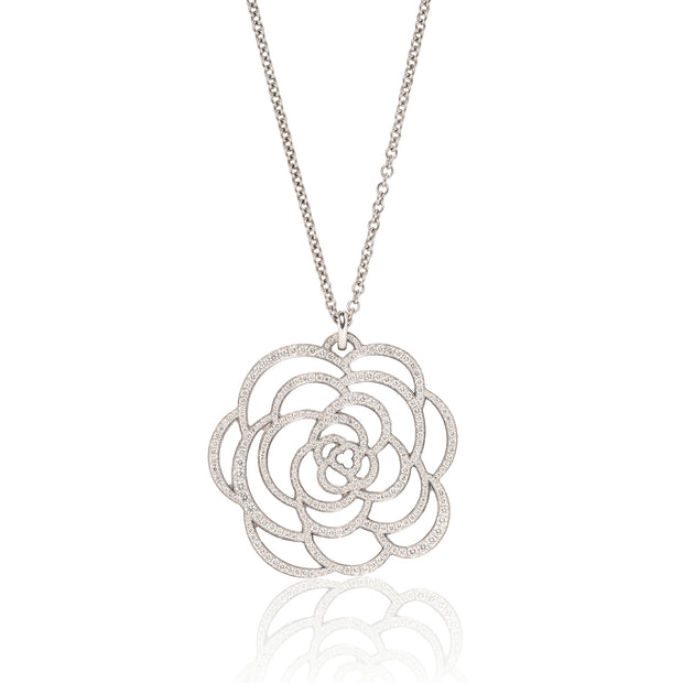 Chanel Fine Jewelry Camélia Ajouré Diamond Pendant Necklace