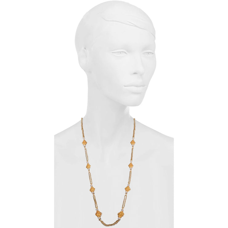 David Morris Gold, Yellow Sapphire and Diamond Double-Sided Long Chain