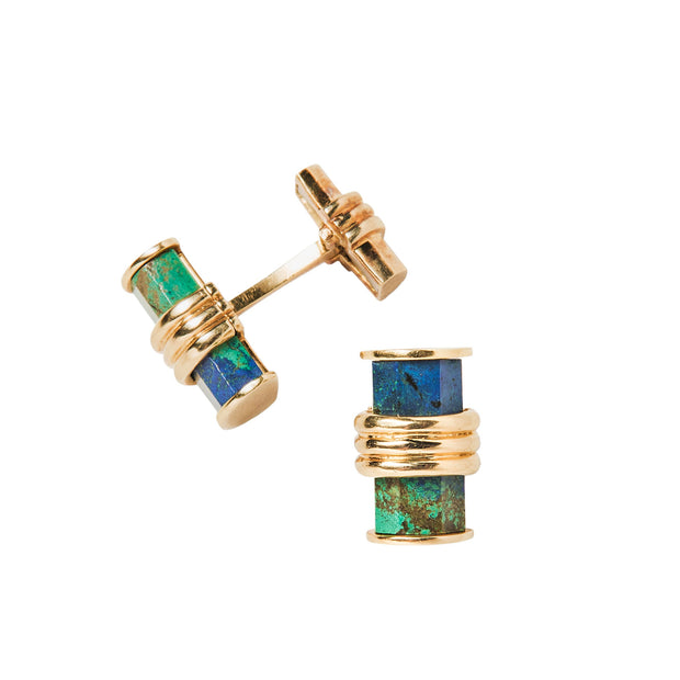David Webb 18k Yellow Gold & Azurmalachite Cufflinks