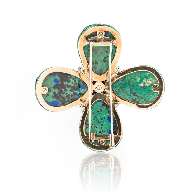 David Webb Azurmalachite, Ruby and Diamond Maltese Cross Brooch
