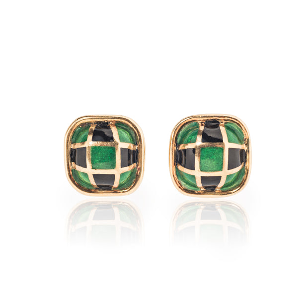David Webb Enamel Checkerboard Earrings