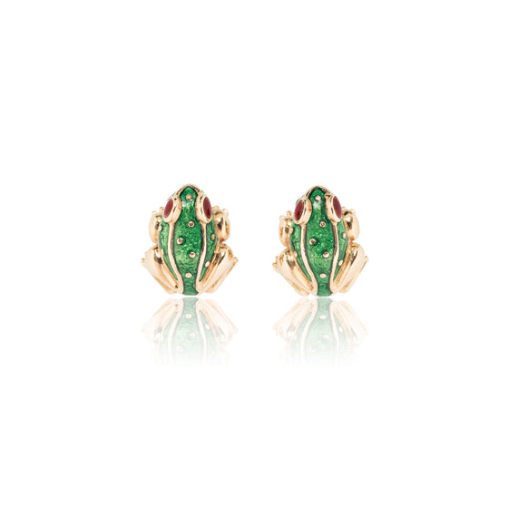 David Webb Enamel Frog Earrings