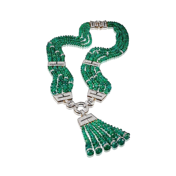 David Webb One of a Kind Emerald and Diamond Necklace