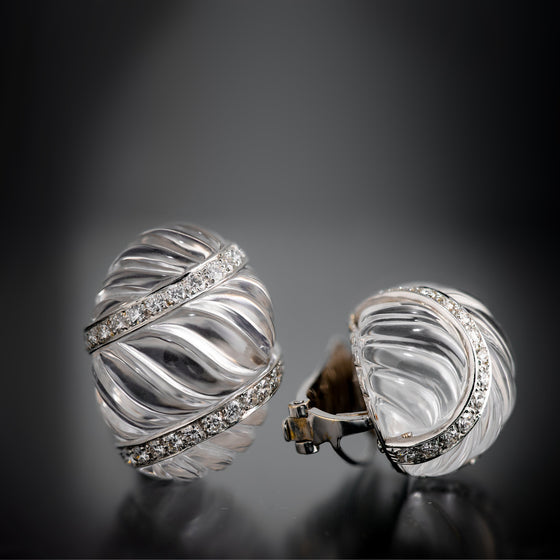 David Webb Fluted Rock Crystal and Diamond Ear Clips