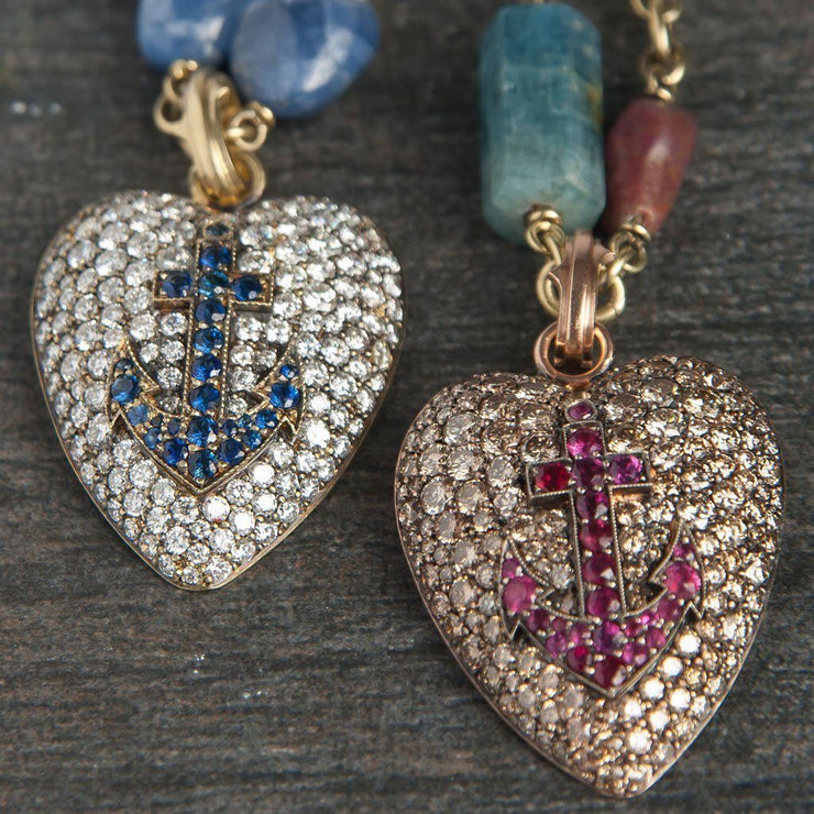 Diamond Heart Pendant with Sapphire Anchor - Tiina Smith Jewelry
