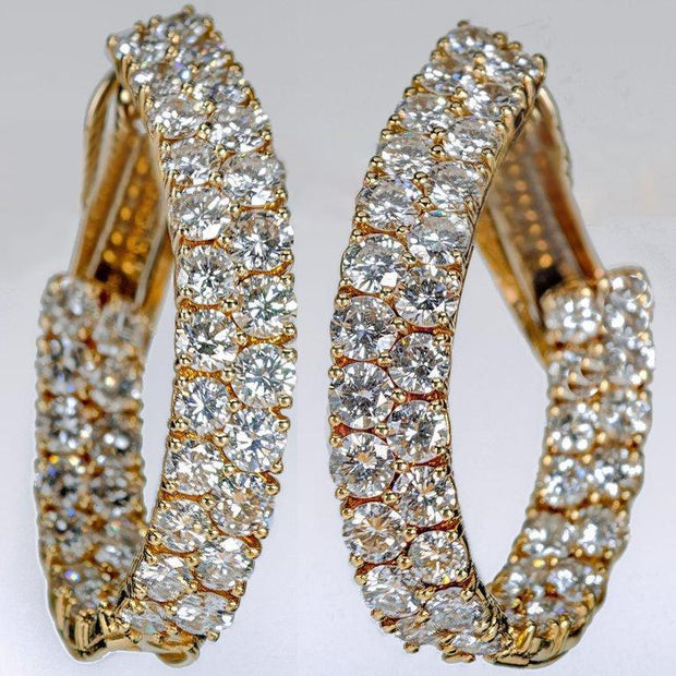 Diamond Yellow Gold Inside Out Oval Earrings