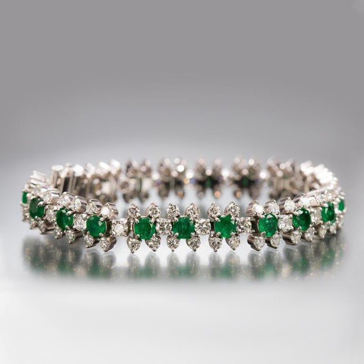 Emerald and Diamond Flower-Head Bracelet - Tiina Smith Jewelry