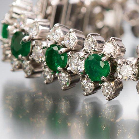 Emerald and Diamond Flower-Head Bracelet