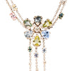 Fringed Flower-Head Necklace with Pale Green and Purple Sapphires and Diamonds