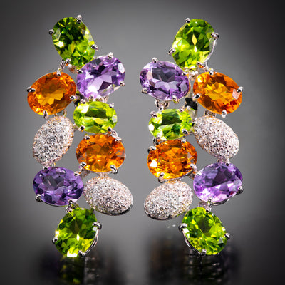 Fred of Paris Gem-Set Cluster Earrings