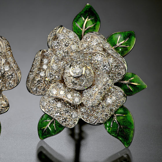 Oscar Heyman Diamond and Enamel Gardenia Ear Clips
