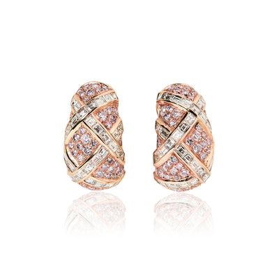Harry Winston Colored Diamond and Diamond Earrings