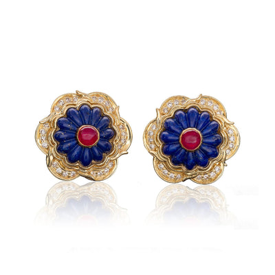 Harry Winston Lapis Ruby and Diamond Earrings