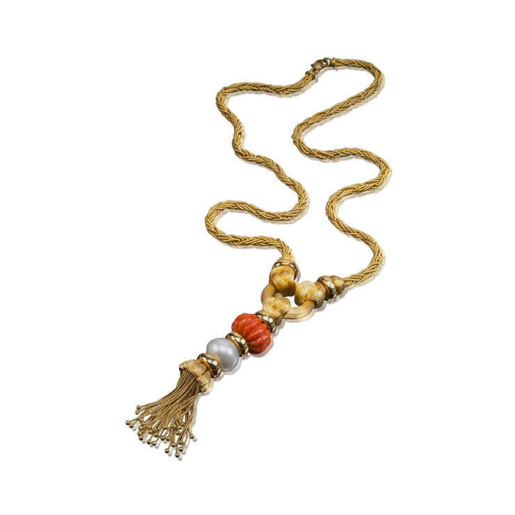 Henry Dunay Gold, Coral and Cultured Pearl Sautoir