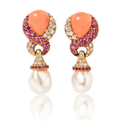 JAR Paris 18k Yellow Gold, Diamond, Ruby, Coral and Pearl Ear Clips