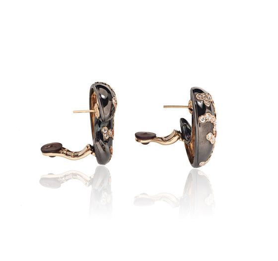 Marina B Blackened Gold, Orange Sapphire and Diamond Fujiyama Ear Clips