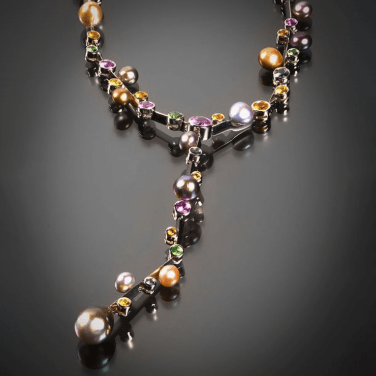 Natural Pearl and Fancy Colored Sapphire Necklace with Detachable Pendant