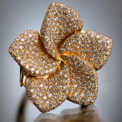 One of a Kind Diamond Magnolia Ring Custom - Tiina Smith Jewelry