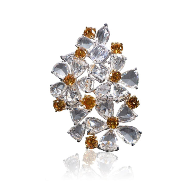Yellow Diamond and Diamond Multi-Flower Ring