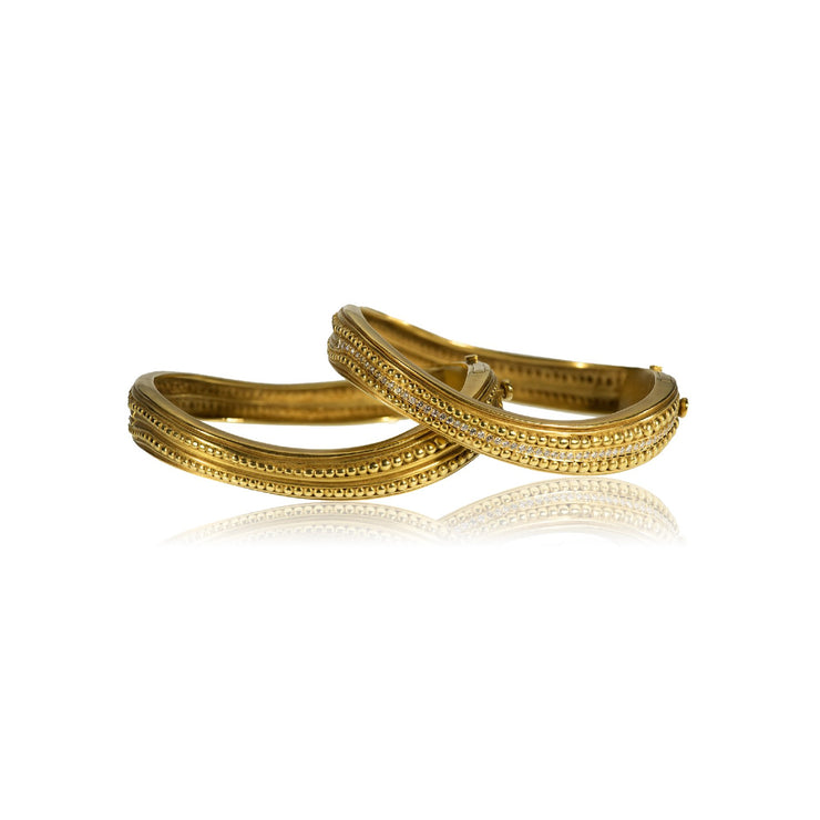 Pair of Kieselstein-Cord 18k Gold and Diamond Hinged Bangles