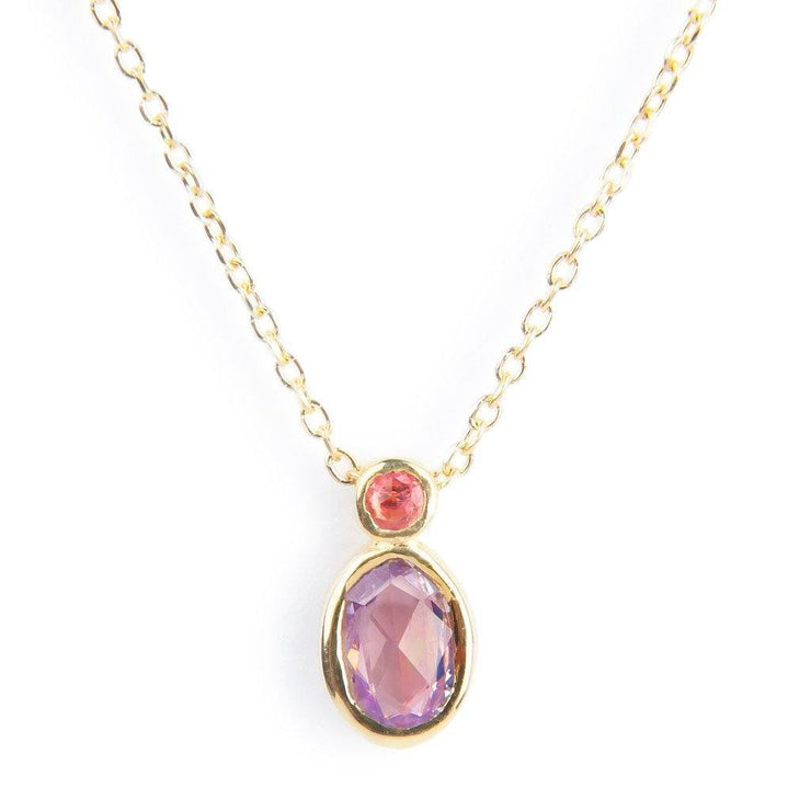 Purple & Pink Sapphire Duo Necklace