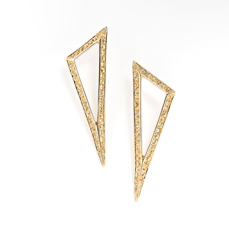 Ralph Masri Modernist Yellow Sapphire Triangle Earrings