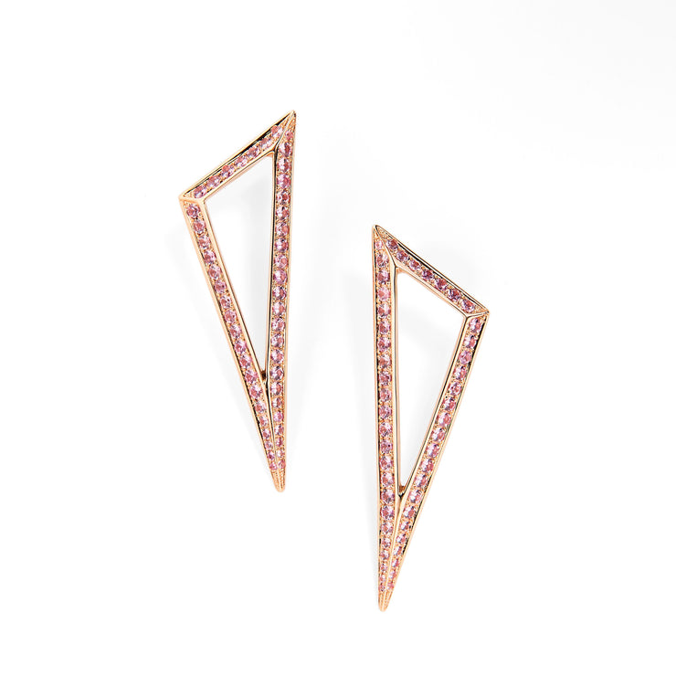 Ralph Masri Modernist Pink Sapphire Triangle Earrings