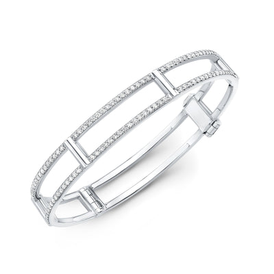 White Gold Diamond Locking Cage Bangle