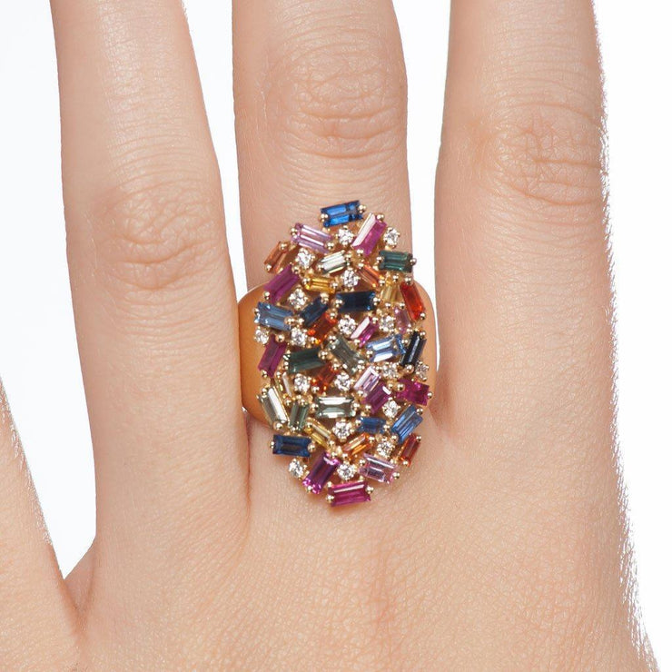 Rainbow Shield Ring - Tiina Smith Jewelry